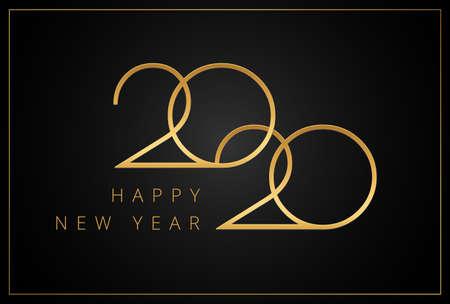 Elegant 2020 Happy New Year greeting card gold and black background - stylish luxury design vector illustration