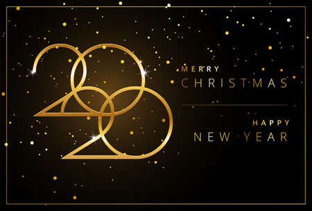 Shining 2020 Happy New Year background. Golden design for Christmas and New Year 2020 greeting cards. Vector background in gold and black color