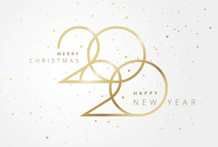 Beautiful Christmas and New Year 2020 background. Golden design with Merry Christmas and Happy New Year 2020 text on sparkling flying confetti background. Vector illustration Иллюстрация