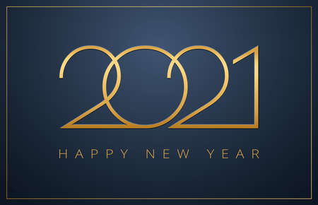 Classy 2021 Happy New Year background. Golden design for Christmas and New Year 2021 greeting cards. Vector background in gold and dark blue color Иллюстрация