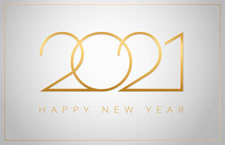 2021 Happy New Year elegant greeting card vector illustration - golden 2021  numbers on a shiny silver background - perfect typography for 2021 save the date designs