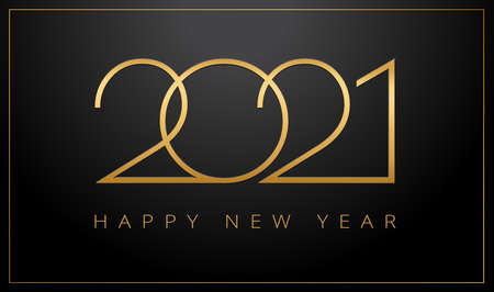 Luxury 2021 Happy New Year elegant design - vector illustration of golden 2021  numbers on black background - perfect typography for 2021 save the date luxury designs and new year celebration invitations Иллюстрация