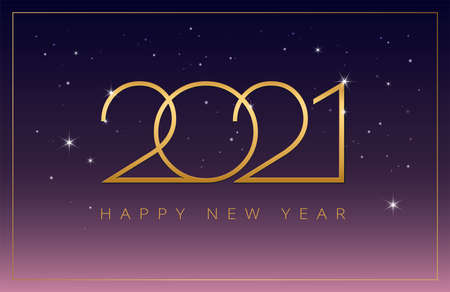 2021 Happy New Year vector background party celebration invitation illustration in purple, pink and golden colors - 2021 golden numbers on shiny starry sky 2021 design Иллюстрация