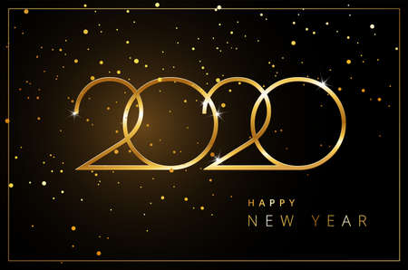 Happy New Year 2020 greeting card gold and black background - flying confetti luxury design vector illustration Иллюстрация
