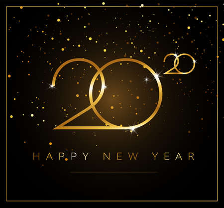 2020 Happy New Year greeting card gold and black background - stylish creative business design vector illustration