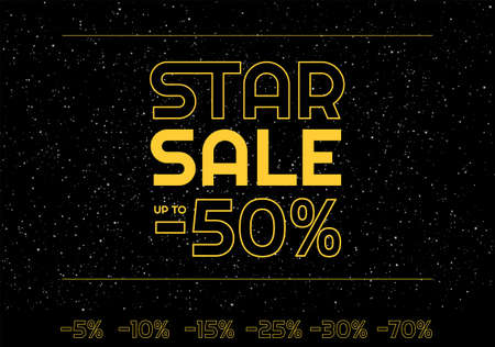 Star sale banner minus 50% discount - Star space yellow letters on black starry night sky space - Black friday banner vector illustration