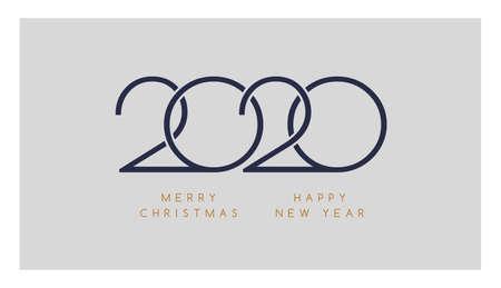 2020 Merry Christmas, Happy New Year minimalistic elegant  design for greeting card or calendar template - minimal 2020 vector illustration Иллюстрация