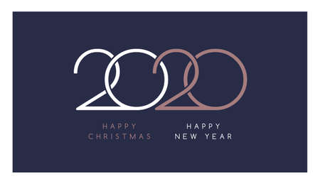 Elegant 2020 Happy New Year and Happy Christmas text in white and rose gold colors on dark blue background - vector template design for company 2020 celebration Иллюстрация