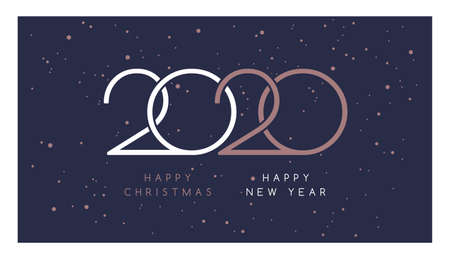 Happy Christmas and Happy New Year 2020. Elegant rose gold text, snow, and beautiful 2020 logo on dark blue background - vector greeting card template Иллюстрация