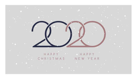 2020 Merry Christmas, Happy New Year vector illustration. Rose gold, dark blue, light grey colors background