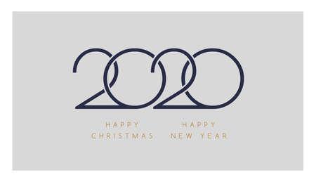 2020 Happy New Year, Happy Christmas - minimalistic elegant  design for greeting card or calendar template - minimal 2020 vector illustration