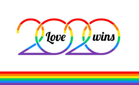 Pride 2020 rainbow type , Love wins text, Pride rainbow flag, white background - vector Pride illustration for 2020 New Year events