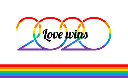 Pride 2020 rainbow , rainbow flag, Love wins text on white background - vector Pride illustration