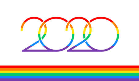 Pride 2020 text  and rainbow flag for Pride events in 2020 - vector illustration design isolated on white background
