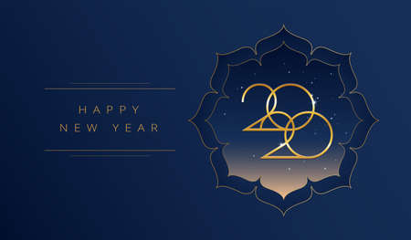 New Year 2020 gold greeting card vector design - beautiful dark blue background with Happy New Ye golden text and 2020 elegant typography. Vector illustration for New Year celebration