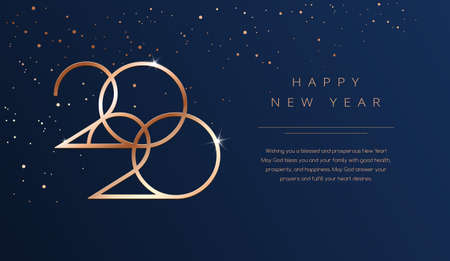 Luxury 2020 Happy New Year background. Golden design for Christmas and New Year 2020 greeting cards with New Year wishes of health and prosperity. Vector background in gold and dark blue color  イラスト・ベクター素材