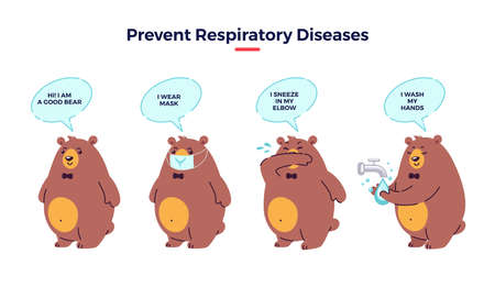 Illustration how prevent respiratory diseases. Correct sneezing and coughing into elbow, washing hands, wearing mask. Virus and infection prevention - flat vector illustration with bear character