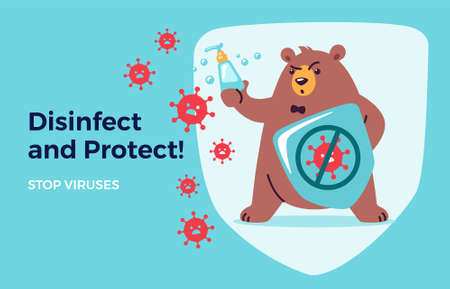 Disinfect, protect, stop virus concept for kids. Washing hands and using hand sanitizers. Cute bear cartoon holds shield and soap to fight and prevent virus. Medical health vector illustration