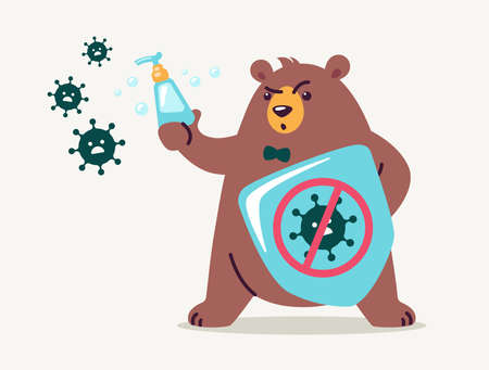 Virus infection prevention concept for kids - washing hands and using hand sanitizers. Cute bear cartoon holds shield and soap to fight and prevent virus. Medical health vector illustration flat style
