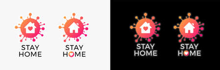 Stay home sign isolation icon for COVID-19 virus protection campaign - Positive quarantine signs in orange and pink gradient colors - vector illustrations isolated on black and white backgrounds