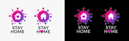 Stay home   icon sticker for COVID-19 virus social media campaign. Coronavirus, COVID 19 protection logo with virus, house and heart  イラスト・ベクター素材