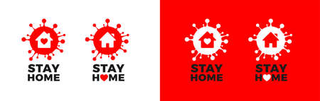 Stay home posters in red, black and white colors. Corona virus  with home icon, heart, and Stay Home text. Covid-19 signs for self quarantine and isolation measures. Vector illustration isolated  イラスト・ベクター素材