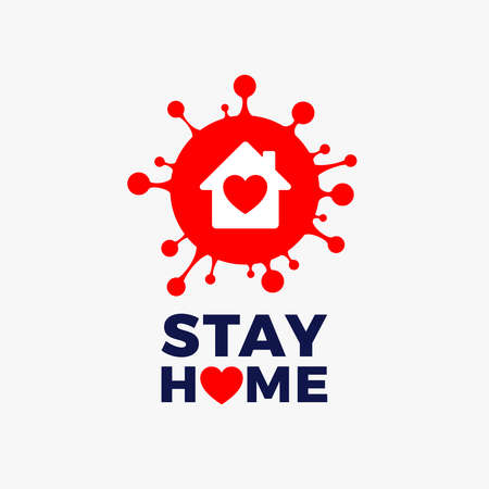 Stay home  icon vector - red corona COVID 19 virus with house icon and heart inside and Stay Home text - vector illustration isolated on white background