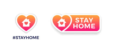 Stay home signs for social media. COVID-19 campaign to support self-isolation and quarantine. Vector icons of house, heart, Stay Home text on a button. Distancing measures to prevent virus spread.  イラスト・ベクター素材