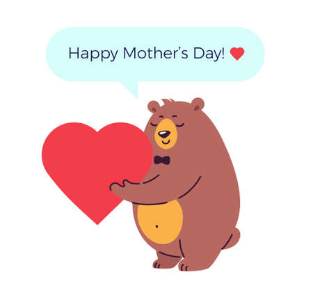 Happy mother's day vector illustration with a bear holding heart and message Happy mothers day - white background