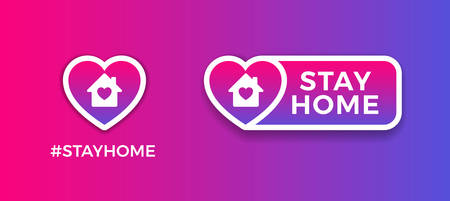 Stay Home signs for social media - purple gradient background vector, heart shape. Stay Home stickers and icons for Coronavirus outbreak, to support quarantine. Vector illustrations  イラスト・ベクター素材