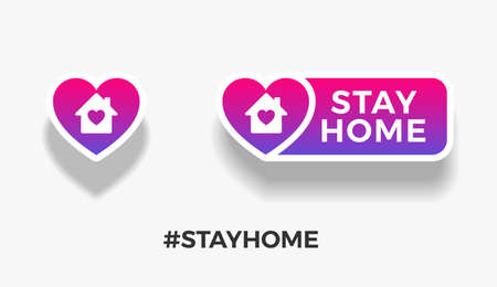 Stay home signs template for quarantine posts  . Stay Home text quote, home and heart icons isolated on white background. Vector illustration  イラスト・ベクター素材