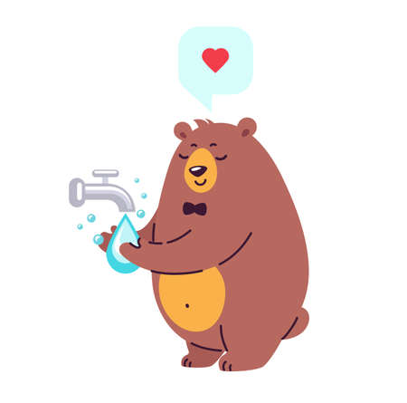 Smiling bear character washing hands under running water - vector illustration in cartoon flat style