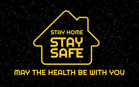 Stay Home, Stay Safe, USA - dark blue background with the United States flag and text Stay Home - to support lockdown during outbreak in the US