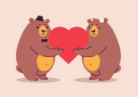 Two happy bears in love and happy together. Cute bear cartoon characters hold a big red heart. Illustration is great for weddings, anniversary celebration, special couple goals event, greeting cards