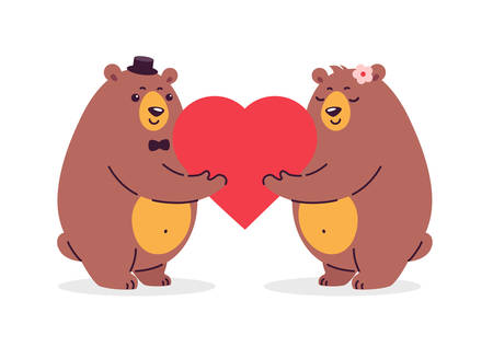 Cartoon illustration of two happy bears in love holding a red heart. Illustration is great for weddings, anniversary celebration, special couple goals event, greeting card design