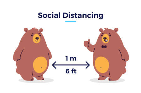 Social distancing image Keep your distance 1 m / 6 feet icon - cartoon illustration of distance between two bears - characters isolated on white background