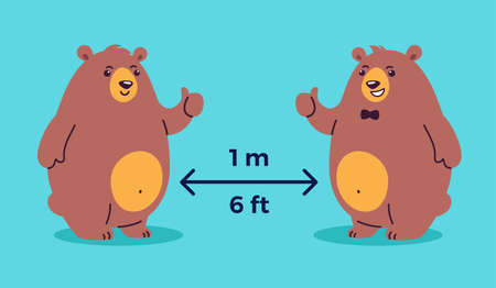 Social distancing illustration depicts keep 1 meter distance, 6 feet distance - cool bears show thumbs up - cartoon positive illustration to make you smile