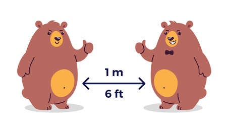 Social distancing  prevention. Keep the safe distance 1-2 meter / 6 feet in public places - cartoon illustrations with two happy smiling bears - children illustration  イラスト・ベクター素材