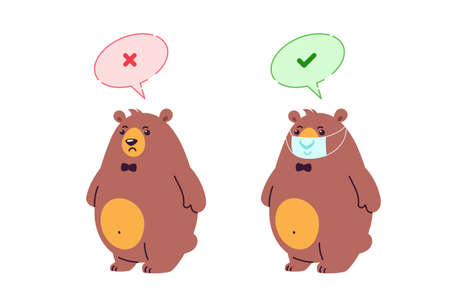 Wear a mask sign. No entry without face mask. virus prevention measures. A bear cartoon character wearing mask - illustration with Don't and Do signs for kindergarten and school