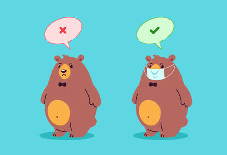 Wear a mask sign. Right is wearing mask, wrong is without mask - COVID virus outbreak - cartoon illustration of two bears characters with and without mask in virus infection prevention