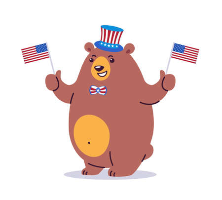 Cool cartoon vector illustration of a California state animal grizzly bear. The bear wearing patriotic cylinder hat and waving US flags. Holiday stars, stripes. Great graphic for California CA state