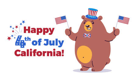 Happy Fourth of July, California background - California state animal grizzly bear in cartoon style ready for holiday - American Independence Day 4th of July vector illustration and typography