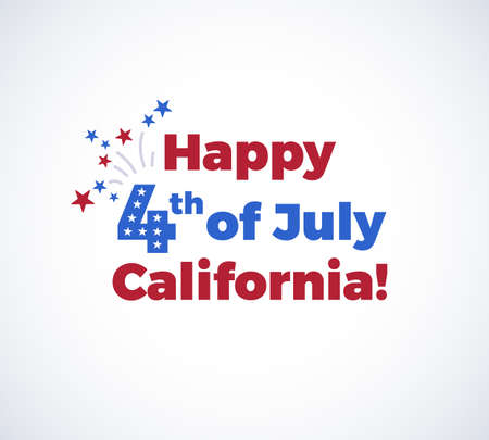 Happy 4th of July California background with the US Independence Day congratulations, fireworks, and flying stars. illustration isolated on white background Illustration