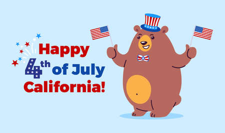 Happy 4th of July illustration - California state symbol bear mascot celebrates Independence Day with USA flags, holiday fireworks, United States stars and stripes - vector cartoon blue background