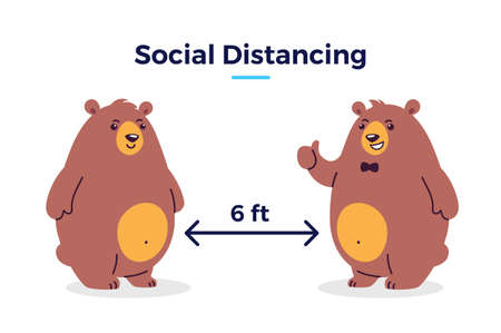 Social distancing image - Keep your distance 6 feet icon - cartoon illustration of distance between two bears - characters isolated on white background