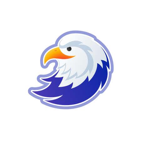 Eagle template - USA bald eagle head colorful illustration - eagle isolated on white background