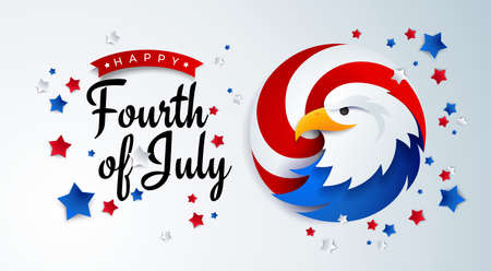 Fourth of July background - American Independence Day vector illustration with the USA bald eagle - 4th of July typographic design
