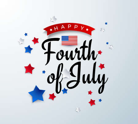 Happy Fourth of July background - American Independence Day vector illustration - 4th of July typographic design USA banner