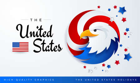 United States patriotic background with USA bald eagle, stars, US flag and text - The United States. High quality illustration for American national holidays, banner events, celebrations