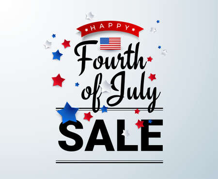Fourth of July Sale banner template w/ american stars and flag vector illustration. 4th of July sale celebration poster template. Fourth of july shopping sign discount